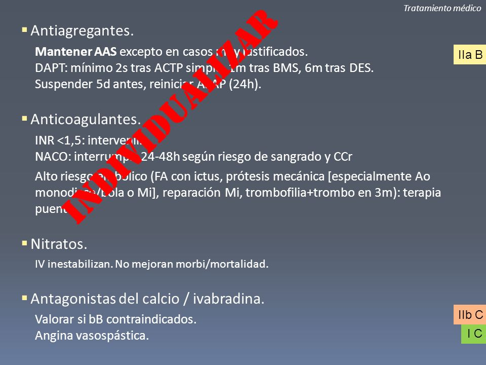 INDIVIDUALIZAR Antiagregantes. Anticoagulantes. Nitratos.