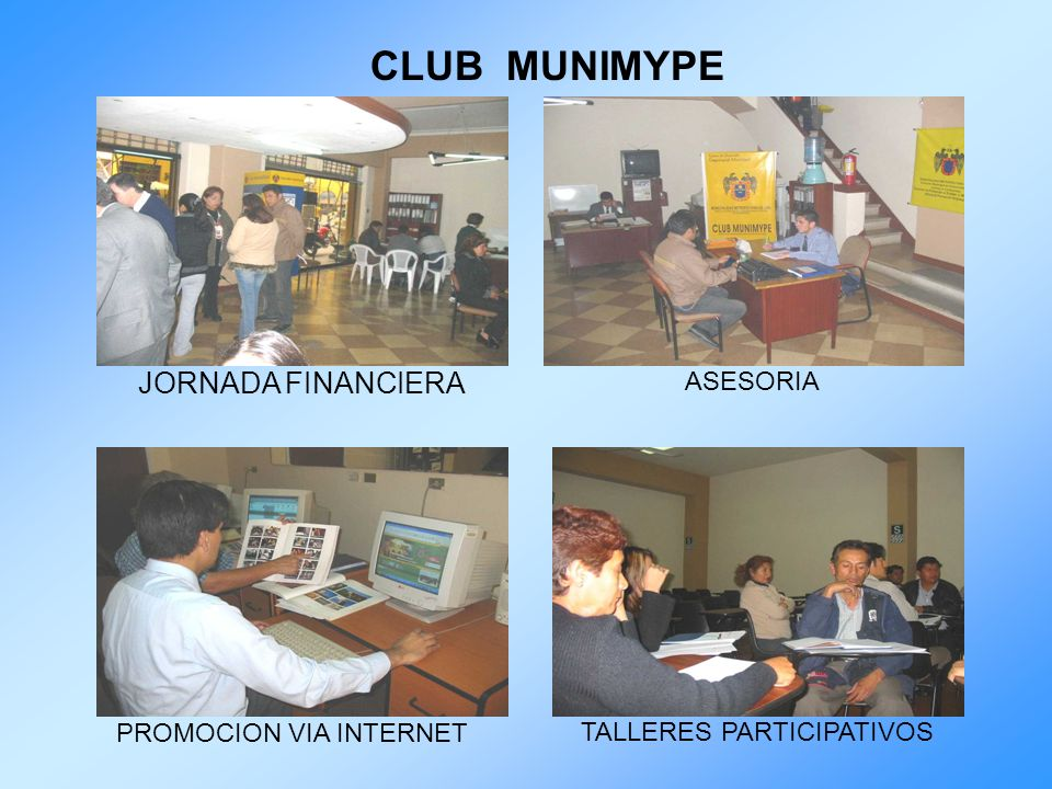 CLUB MUNIMYPE JORNADA FINANCIERA ASESORIA PROMOCION VIA INTERNET