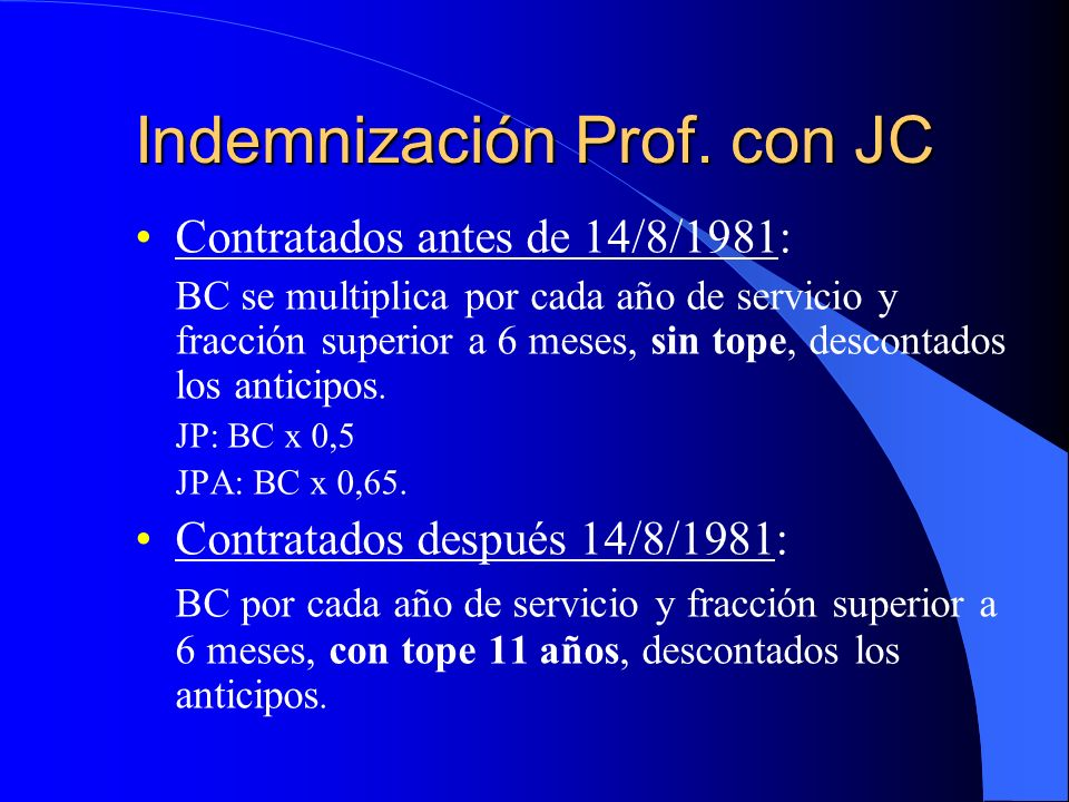 Indemnización Prof. con JC