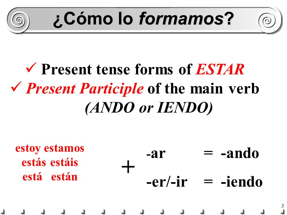 Present tense forms of ESTAR Present Participle of the main verb