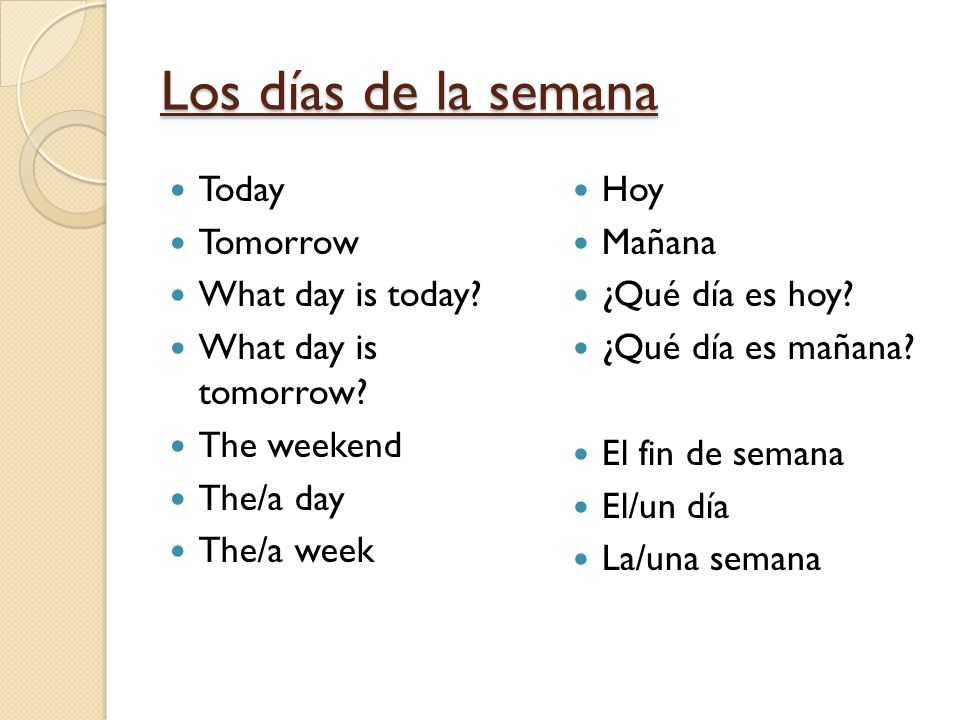 Los días de la semana Today Tomorrow What day is today