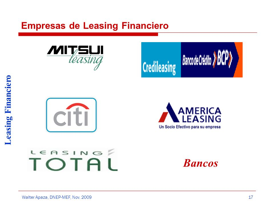 Empresas de Leasing Financiero
