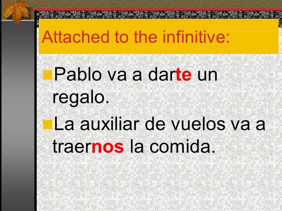 Attached to the infinitive: