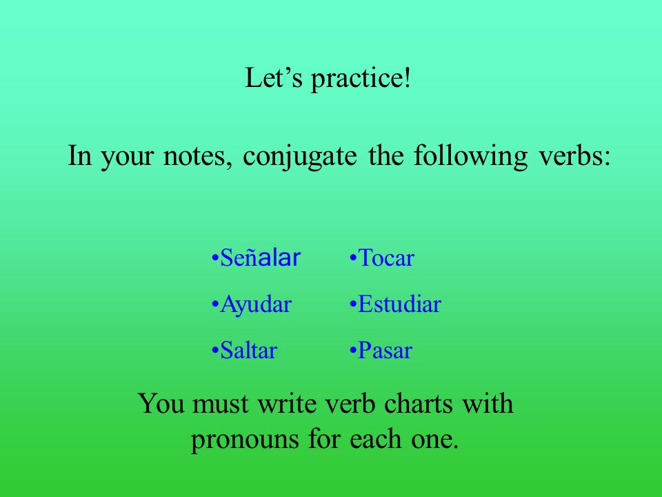 In your notes, conjugate the following verbs: