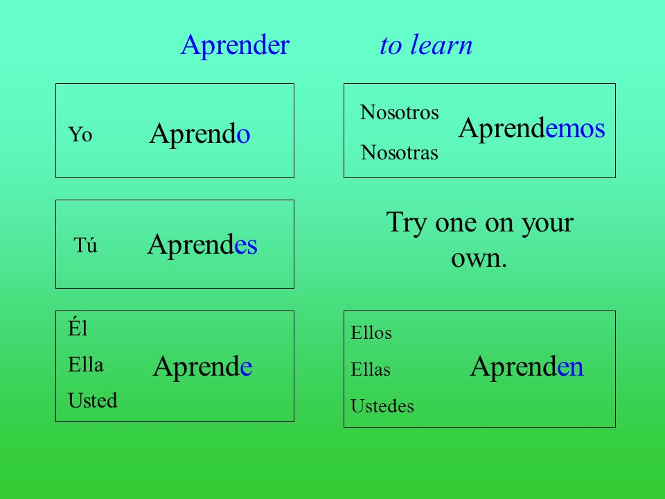 Aprender to learn Aprendemos Aprendo Try one on your own. Aprendes
