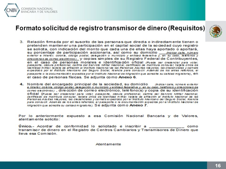 Formato solicitud de registro transmisor de dinero (Requisitos)