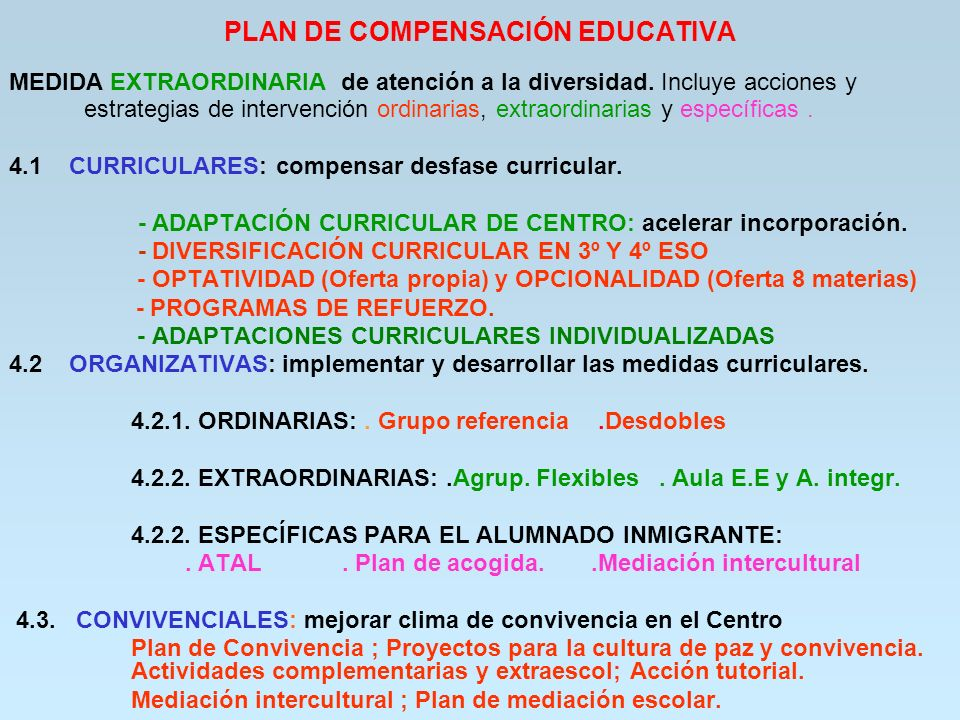 PLAN DE COMPENSACIÓN EDUCATIVA