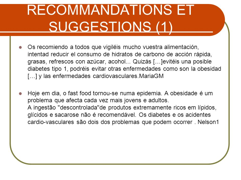 RECOMMANDATIONS ET SUGGESTIONS (1)