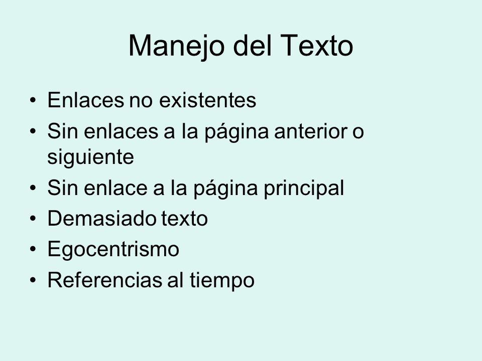 Manejo del Texto Enlaces no existentes