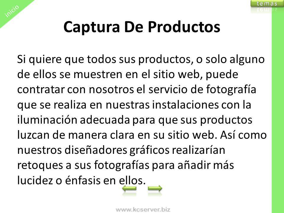 inicio temas. Captura De Productos.