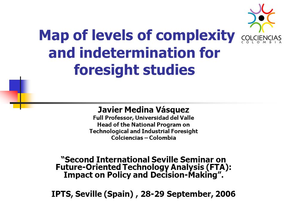 Map of levels of complexity and indetermination for foresight studies