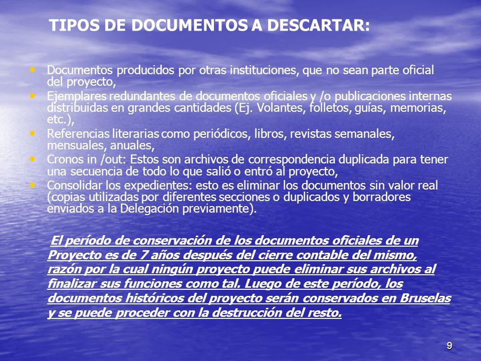 TIPOS DE DOCUMENTOS A DESCARTAR:
