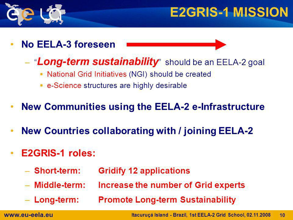 E2GRIS-1 MISSION No EELA-3 foreseen
