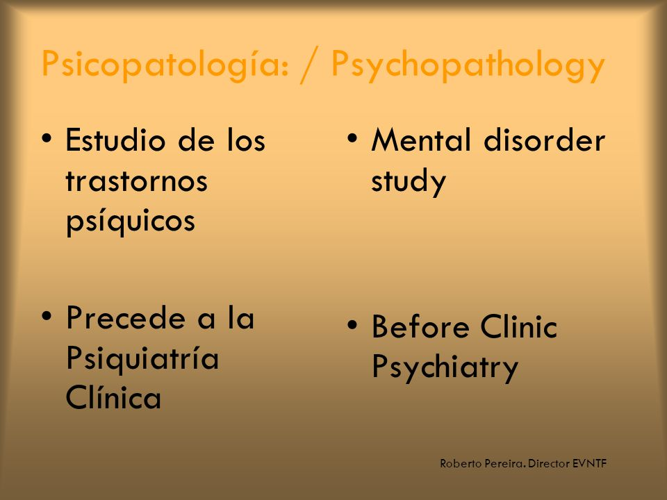 Psicopatología: / Psychopathology