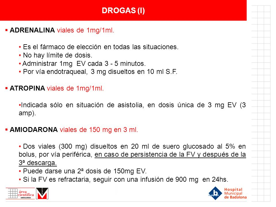 DROGAS (I) ADRENALINA viales de 1mg/1ml.