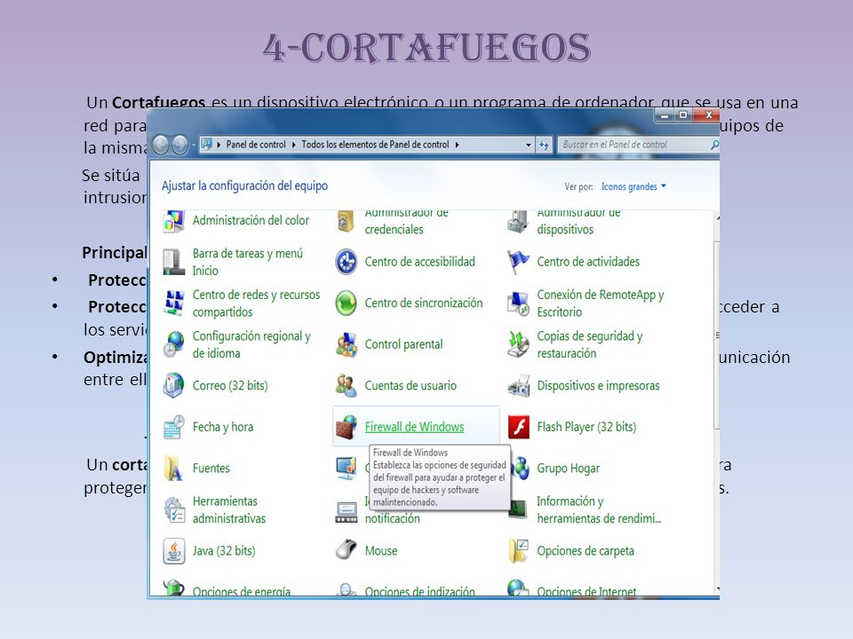 4-Cortafuegos -Corta fuegos de Windows-