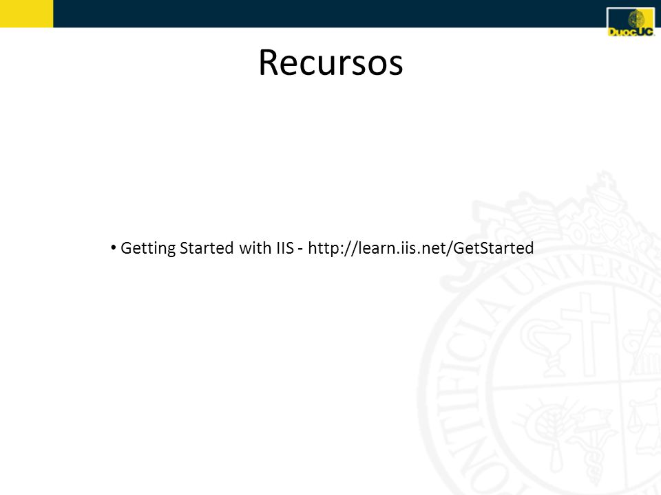 Recursos Getting Started with IIS -