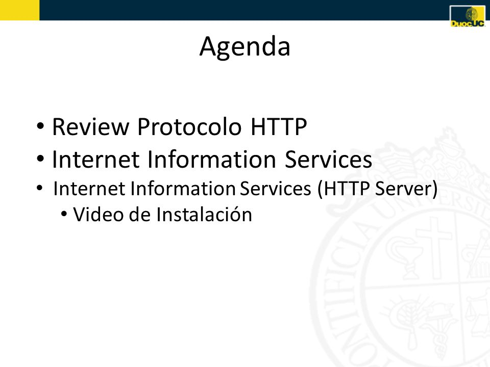 Agenda Review Protocolo HTTP Internet Information Services