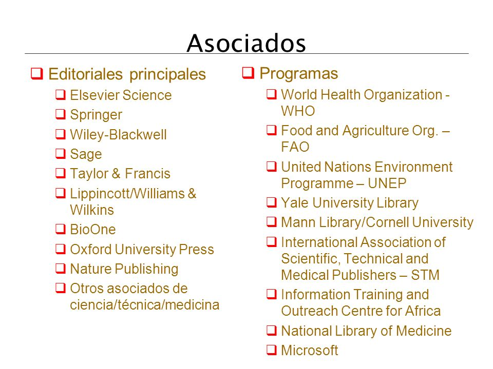 Asociados Editoriales principales Programas Elsevier Science
