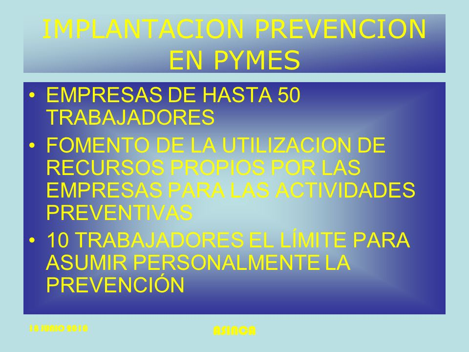IMPLANTACION PREVENCION EN PYMES