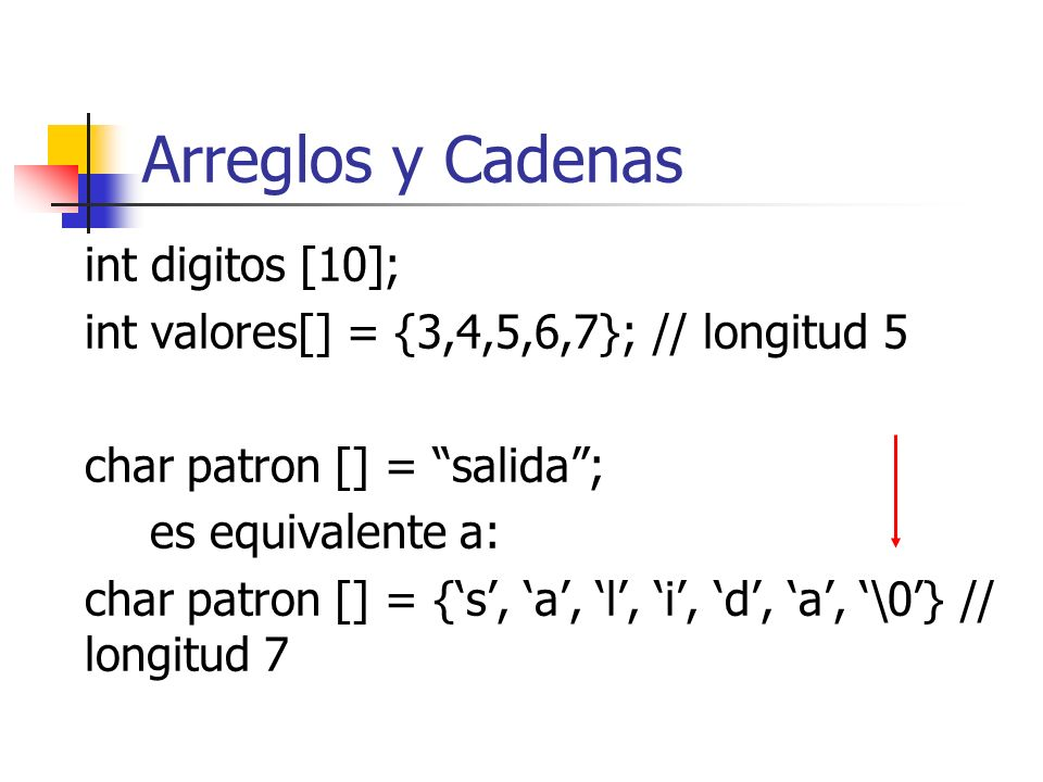 Arreglos y Cadenas int digitos [10];