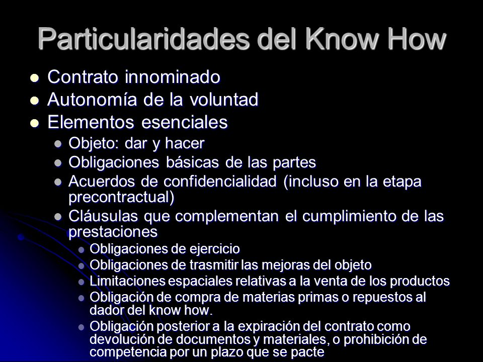 Particularidades del Know How