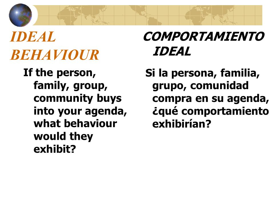 IDEAL BEHAVIOUR COMPORTAMIENTO IDEAL