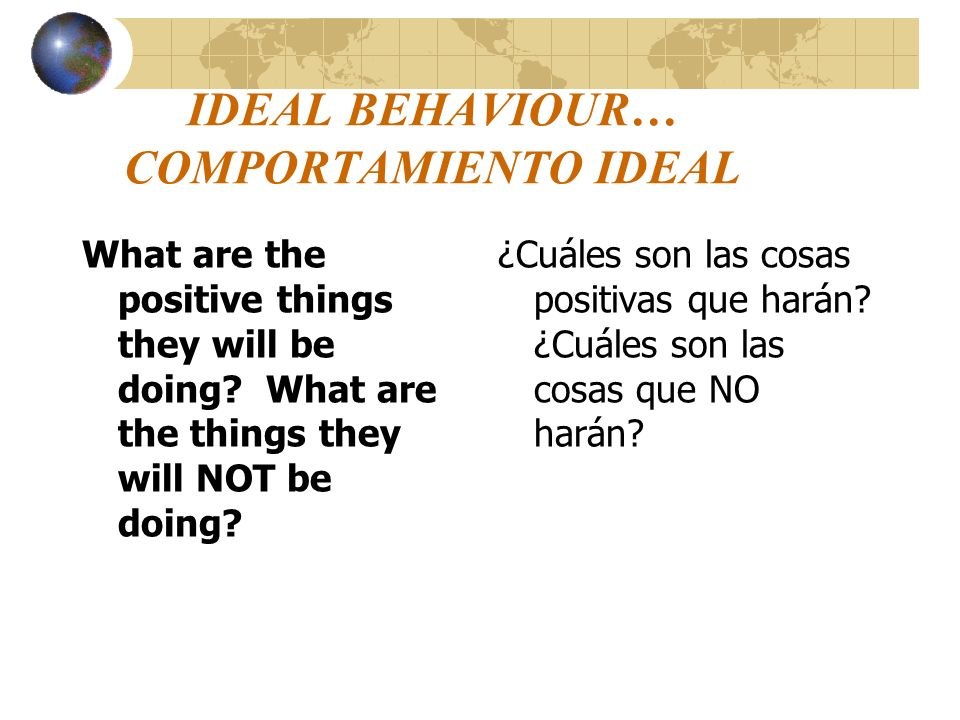 IDEAL BEHAVIOUR… COMPORTAMIENTO IDEAL