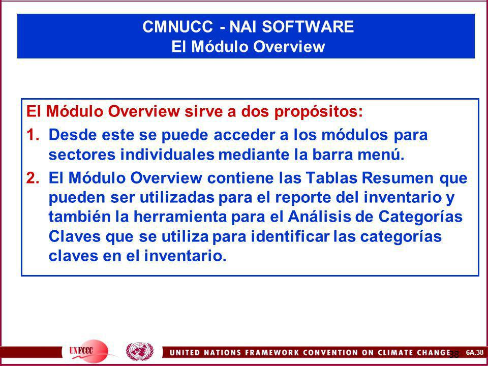 CMNUCC - NAI SOFTWARE El Módulo Overview
