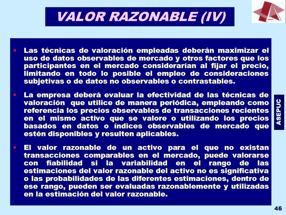VALOR RAZONABLE (IV)
