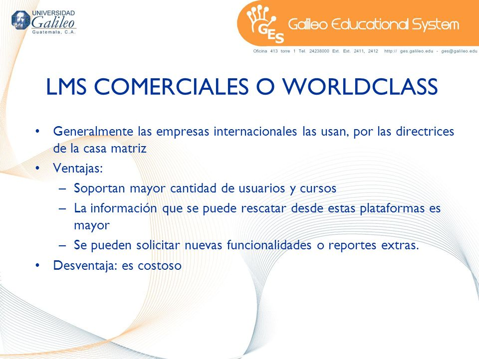 LMS COMERCIALES O WORLDCLASS
