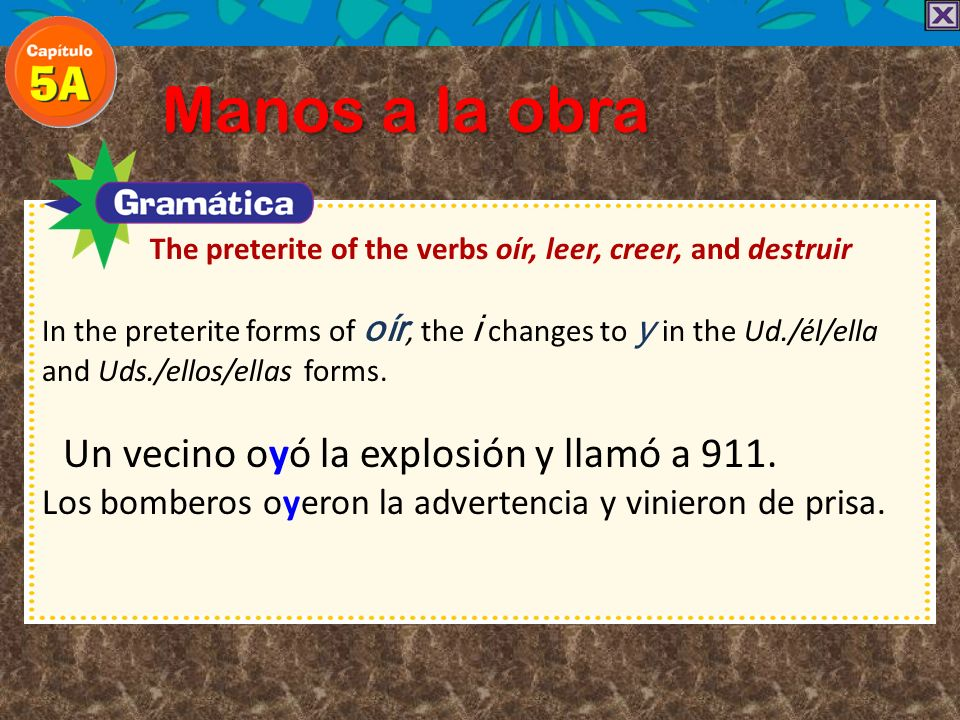 The preterite of the verbs oír, leer, creer, and destruir