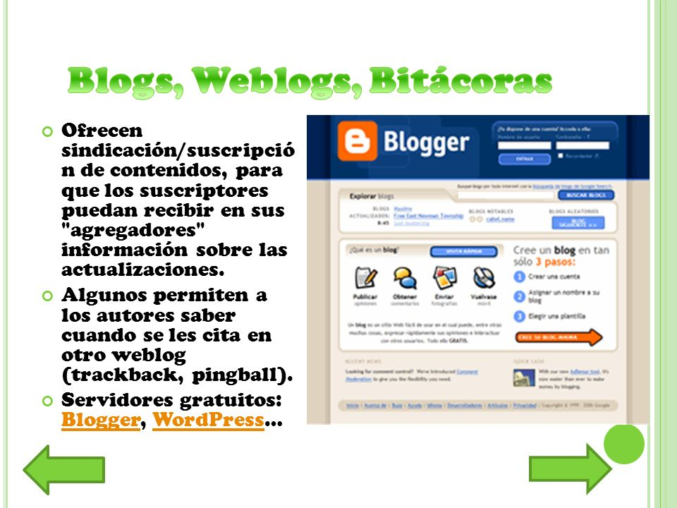 Blogs, Weblogs, Bitácoras
