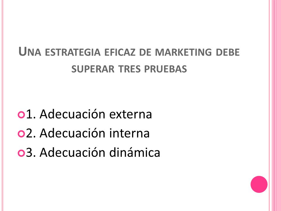 Una estrategia eficaz de marketing debe superar tres pruebas