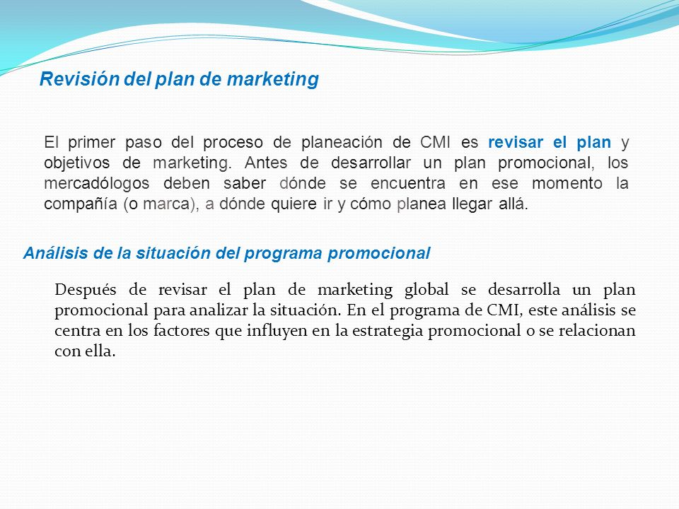 Revisión del plan de marketing