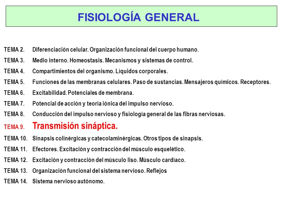 FISIOLOGÍA GENERAL TEMA 2. Diferenciación celular. Organización ...