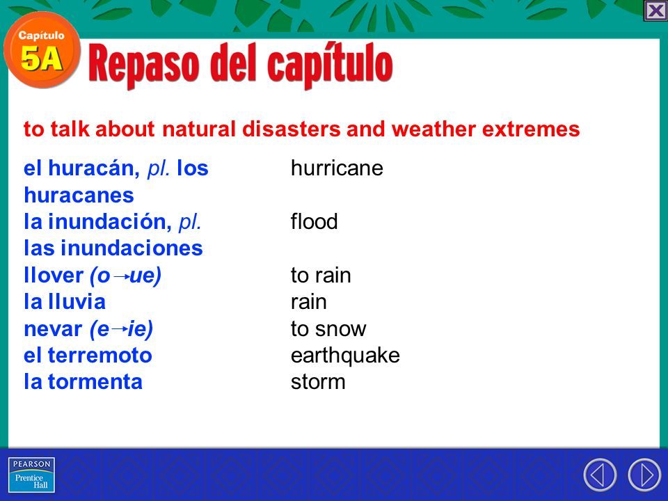 to talk about natural disasters and weather extremes