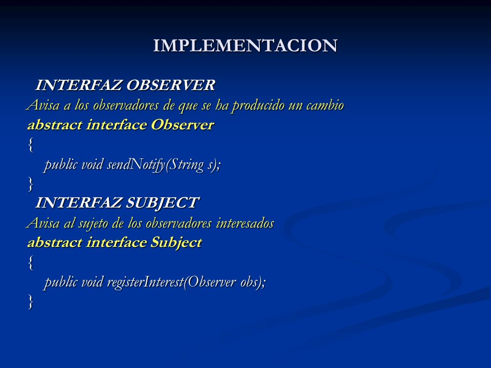 IMPLEMENTACION INTERFAZ OBSERVER