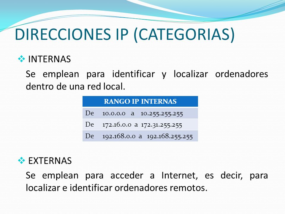 CATEGORIAS DE DI DIRECCIONES IP (CATEGORIAS)