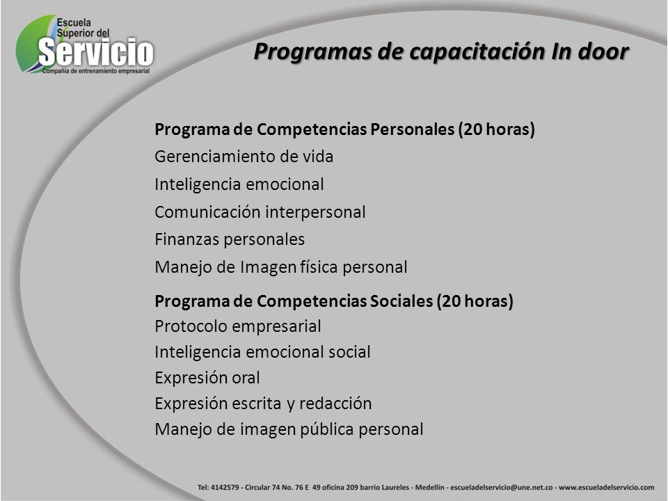 Programas de capacitación In door