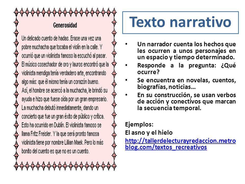 Tipos De Textos Tipos De Textos Texto Narrativo Un Narrador Cuenta Los Hechos Que Les Ocurren A Unos Personajes En Un Espacio Y Tiempo Determinado Ppt Video Online Descargar