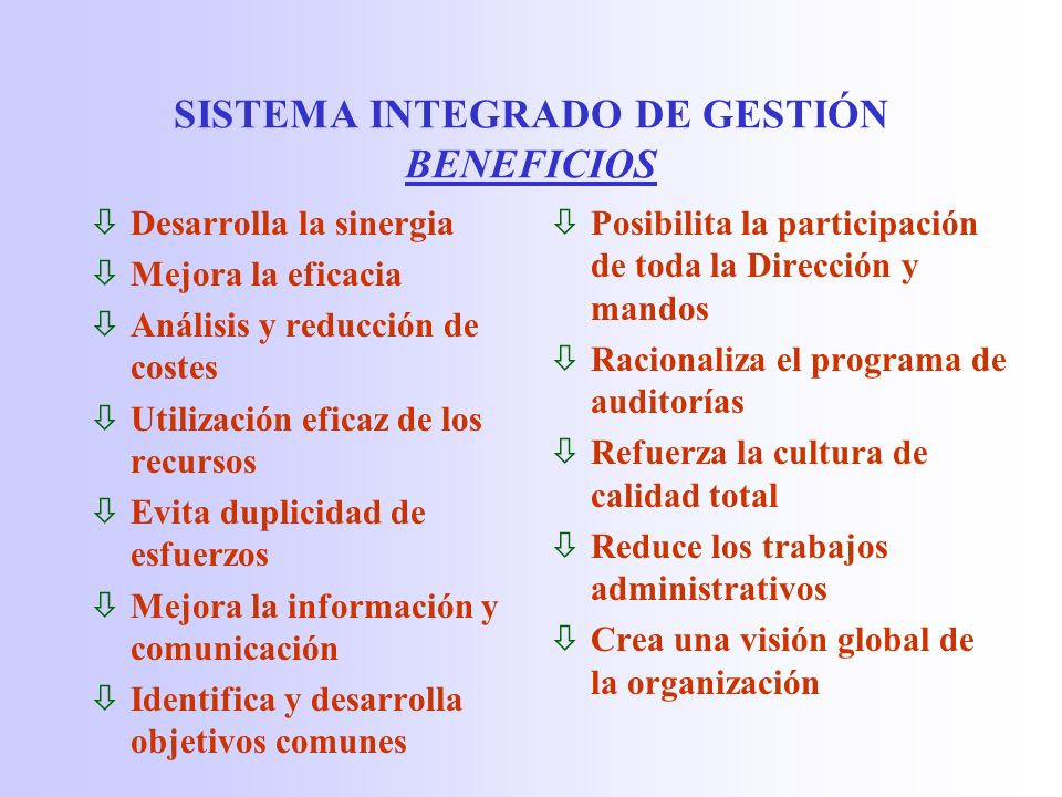 SISTEMA INTEGRADO DE GESTIÓN BENEFICIOS
