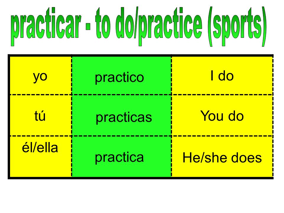 practicar - to do/practice (sports)