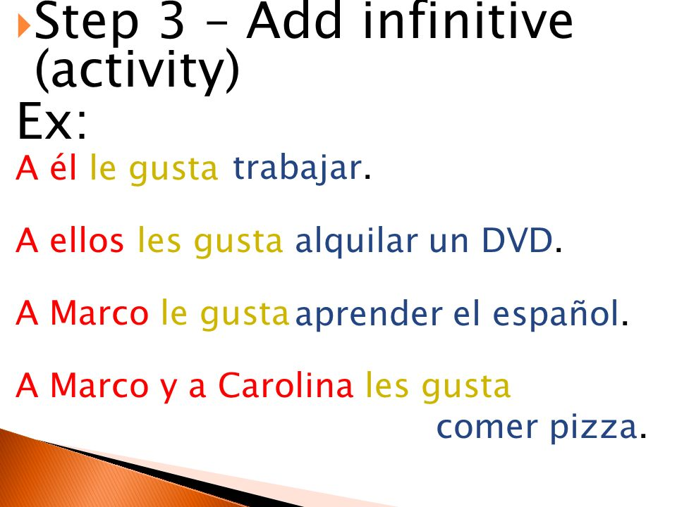 Step 3 – Add infinitive (activity) Ex: