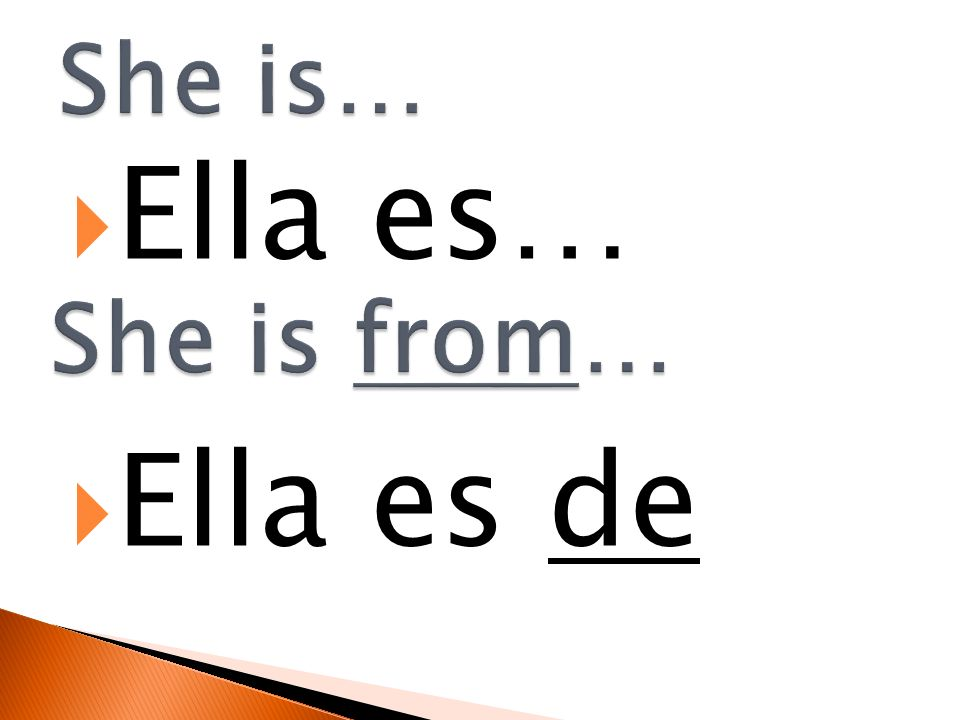 She is… Ella es… Ella es de She is from…