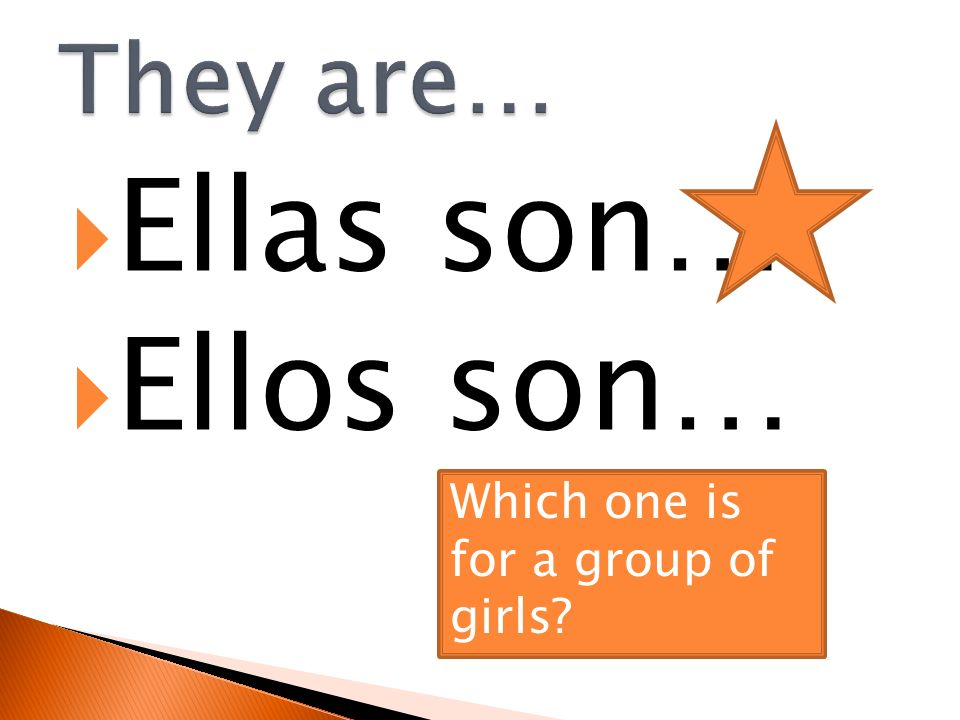 They are… Ellas son… Ellos son… Which one is for a group of girls