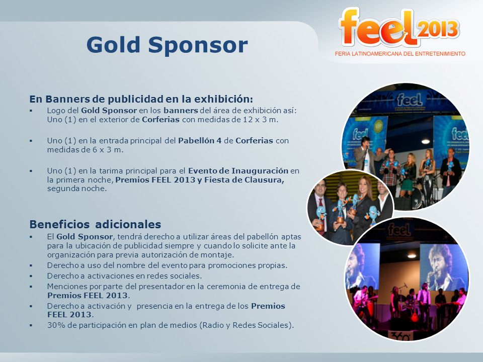Gold Sponsor Beneficios adicionales