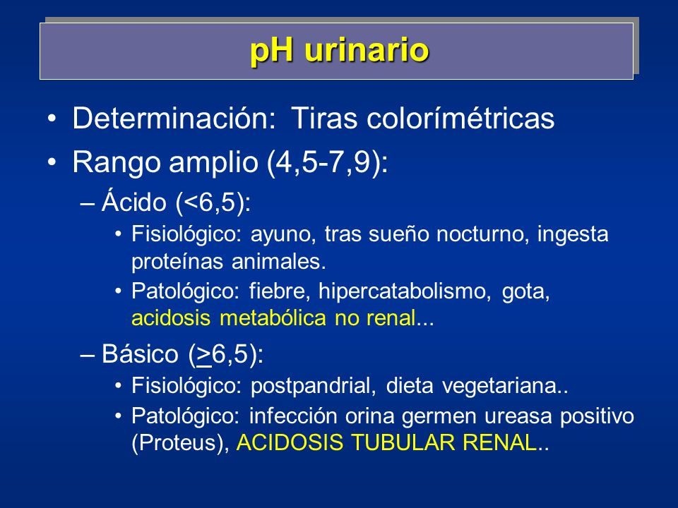 pH urinario Determinación: Tiras colorímétricas
