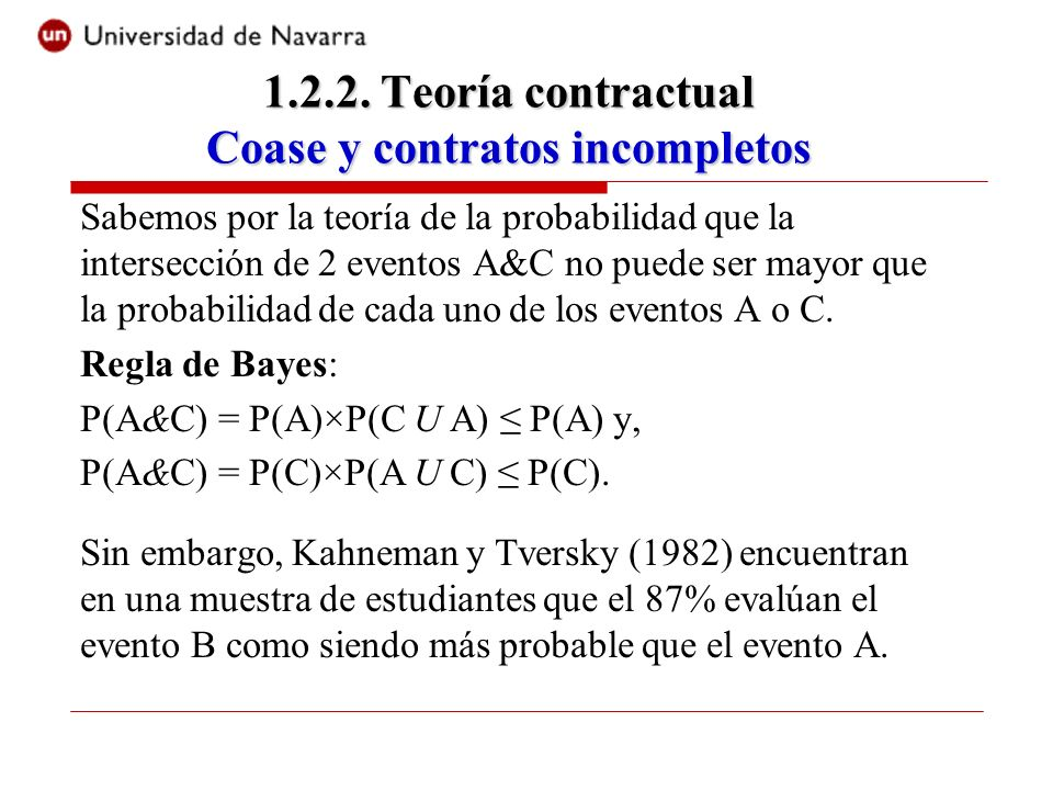 1.2.2. Teoría contractual Coase y contratos incompletos