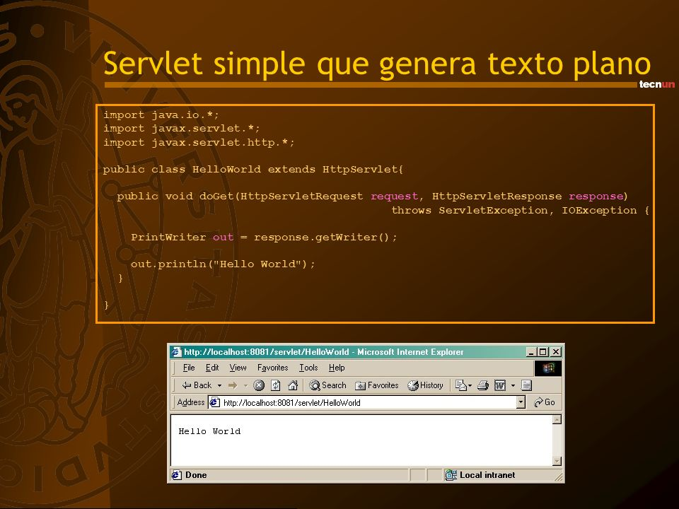 Servlet simple que genera texto plano
